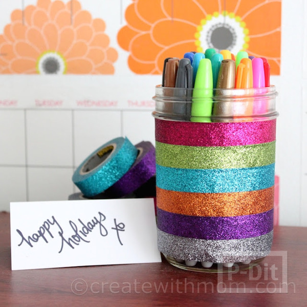 รูป 1 ตกแต่งที่ใส่ดินสอ ติดสก็อตเทปสีสดใส