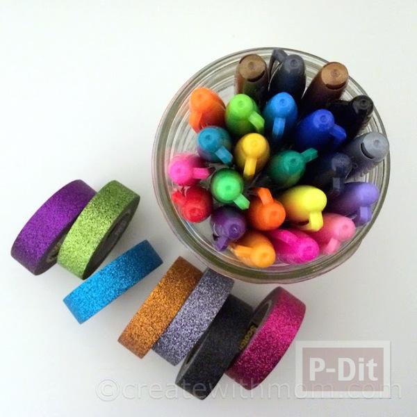 รูป 3 ตกแต่งที่ใส่ดินสอ ติดสก็อตเทปสีสดใส