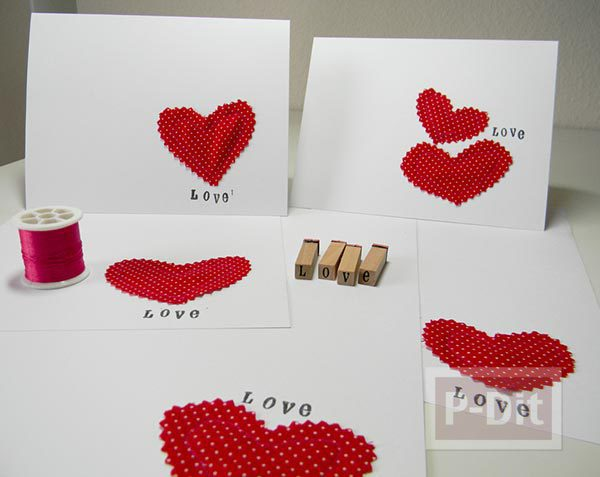 การ์ดบอกรักสวยๆ เย็บจากผ้า ติดกระดาษ