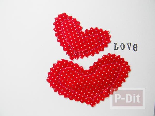 รูป 2 การ์ดบอกรักสวยๆ เย็บจากผ้า ติดกระดาษ