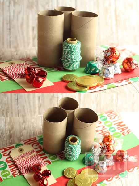 รูป 3 ห่อของขวัญวันปีใหม่ ใช้แกนกระดาษทิชชู