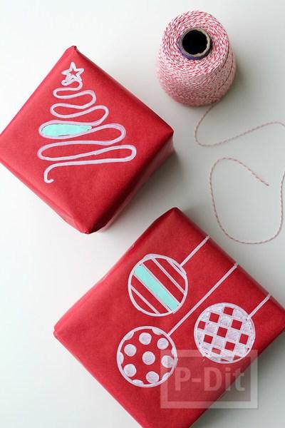 ห่อกล่องของขวัญ ตกแต่งวาดลายน่ารักๆ