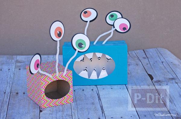 รูป 4 Monster ทำจากกล่องกระดาษทิชชู เก่าๆ