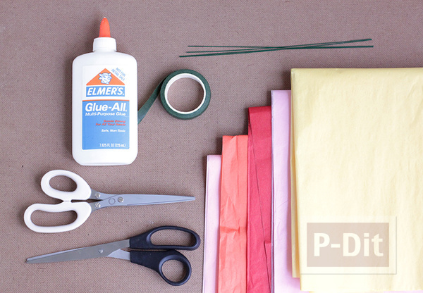 รูป 2 ดอกไม้กระดาษ สีสวย ประดับแจกัน