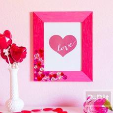 กรอบรูปประดับเม็ดคริสตัล รูปหัวใจ สีหวาน