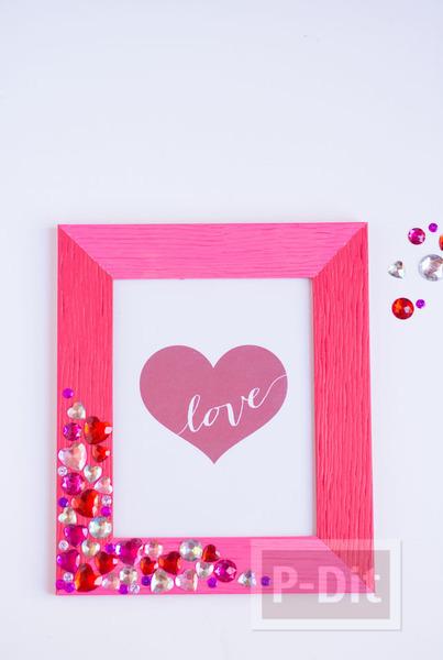 รูป 4 กรอบรูปประดับเม็ดคริสตัล รูปหัวใจ สีหวาน