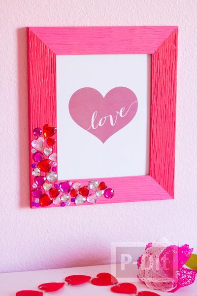 รูป 6 กรอบรูปประดับเม็ดคริสตัล รูปหัวใจ สีหวาน