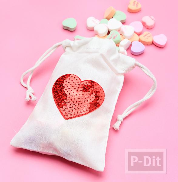 รูป 1 ถุงผ้า ลายหัวใจ ปักเลื่อมสีสด
