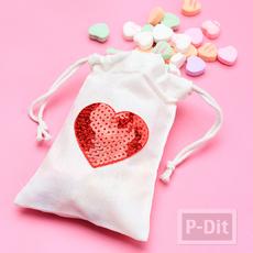 ถุงผ้า ลายหัวใจ ปักเลื่อมสีสด