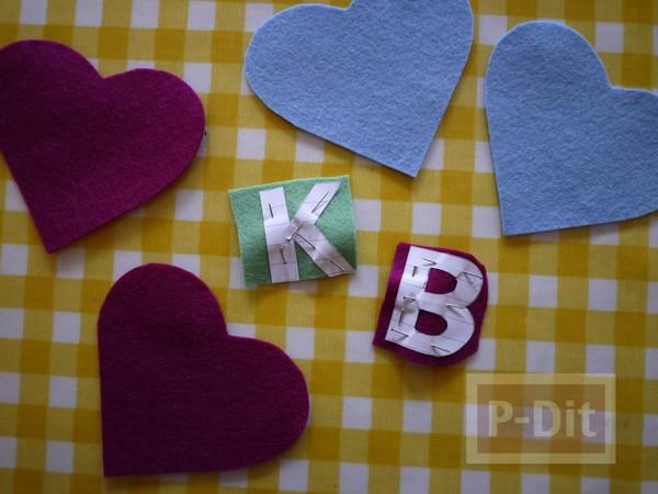 รูป 6 หัวใจผ้า ประดับตัวอักษร ภาษาอังกฤษ