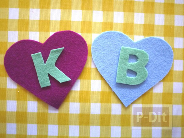 รูป 7 หัวใจผ้า ประดับตัวอักษร ภาษาอังกฤษ