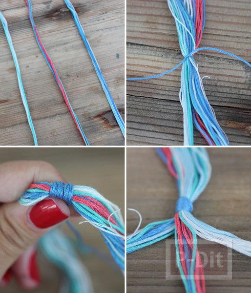 รูป 5 สอนทำกำไลข้อมือสีสดใส ถักเปียน่ารักๆ