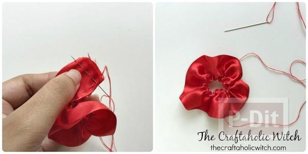 รูป 4 ดอกไม้ประดิษฐ์สวยๆ ทำจากริบบิ้นสีสดใส