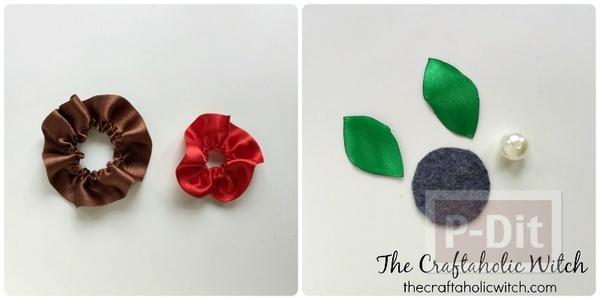 รูป 5 ดอกไม้ประดิษฐ์สวยๆ ทำจากริบบิ้นสีสดใส