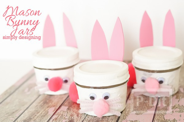 กระต่ายกระป๋อง ทำเอง น่ารัก สีชมพูหวานๆ