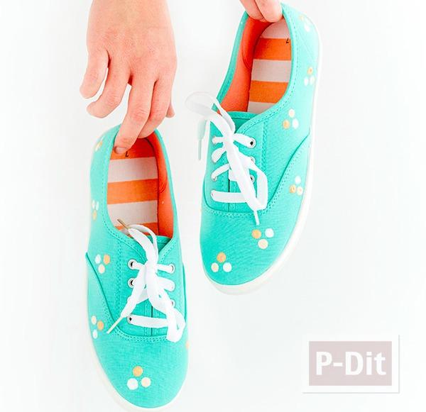 รูป 4 รองเท้าผ้าใบ ตกแต่งลายจุด