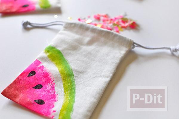ถุงผ้าลายแตงโม ระบายจากปลายพู่กัน