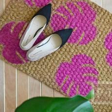 พรมเช็ดเท้าลายใบไม้ พ่นสีเองสวยๆ