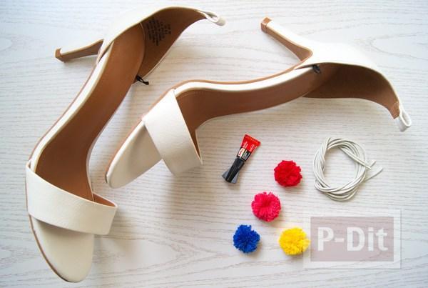 รูป 2 รองเท้ารัดส้น สวย น่ารัก ด้วยปอมๆ