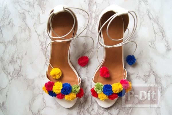 รูป 6 รองเท้ารัดส้น สวย น่ารัก ด้วยปอมๆ