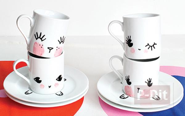 วาดแก้วกาแฟ ด้วยสีเมจิก สีสดใส