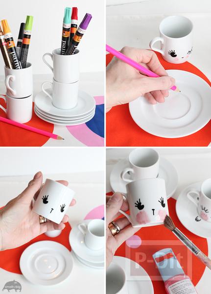 รูป 2 วาดแก้วกาแฟ ด้วยสีเมจิก สีสดใส