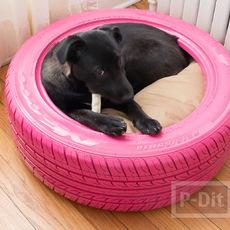 ที่นอนหมา ทำยางรถยนต์ พ่นสีสด