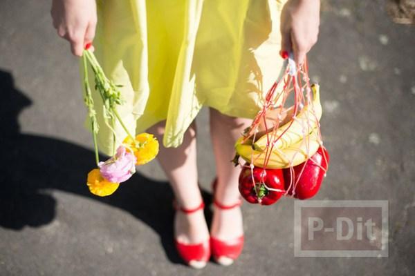 ถุงใส่ผลไม้ ถักเชือก สีสดใส
