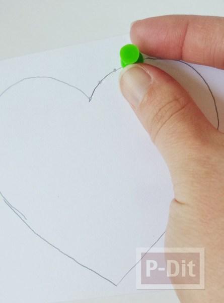 รูป 5 การ์ดรูปหัวใจ เจาะรู ร้อยเชือก