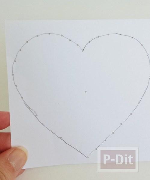 รูป 6 การ์ดรูปหัวใจ เจาะรู ร้อยเชือก