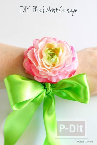 รูป 3 ดอกไม้ติดข้อมือสวยๆ ทำจากดอกไม้พลาสติก