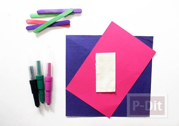 รูป 2 สอนพับพัดกระดาษ ติดไม้ไอติม