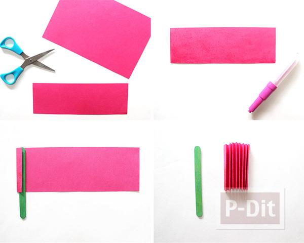 รูป 4 สอนพับพัดกระดาษ ติดไม้ไอติม
