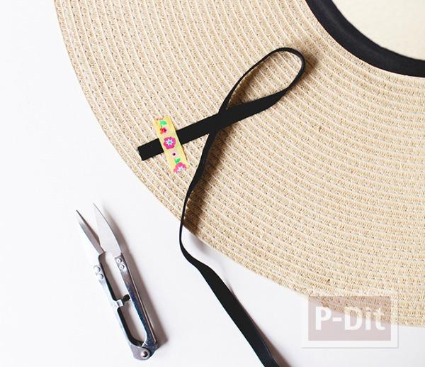 รูป 2 ตกแต่งหมวกใบสวย ด้วยริบบิ้น
