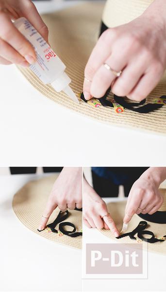 รูป 6 ตกแต่งหมวกใบสวย ด้วยริบบิ้น