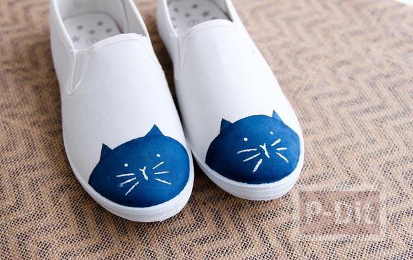 ระบายสีแมวน้อยน่ารัก ประดับรองเท้าผ้าใบ