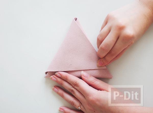 รูป 6 เย็บกระเป๋าหนัง เป็นรูปสามเหลี่ยม