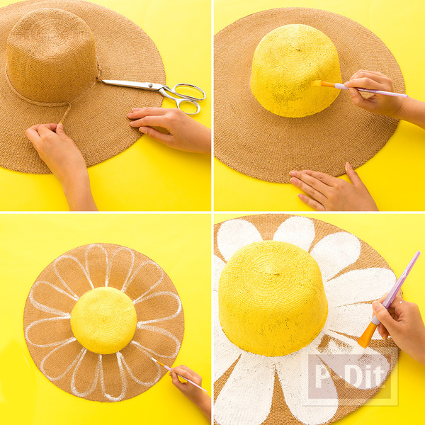 รูป 4 ระบายสีหมวก ดอกทานตะวันแสนสวย