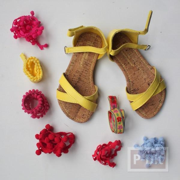 รูป 4 รองเท้ารัดส้น ประดับปอมๆ สีสด น่ารักๆ