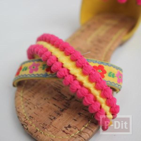รูป 5 รองเท้ารัดส้น ประดับปอมๆ สีสด น่ารักๆ