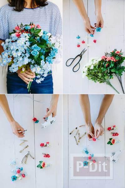 รูป 2 กิ๊บติดผม ตกแต่งดอกไม้ปลอม ทำง่าย