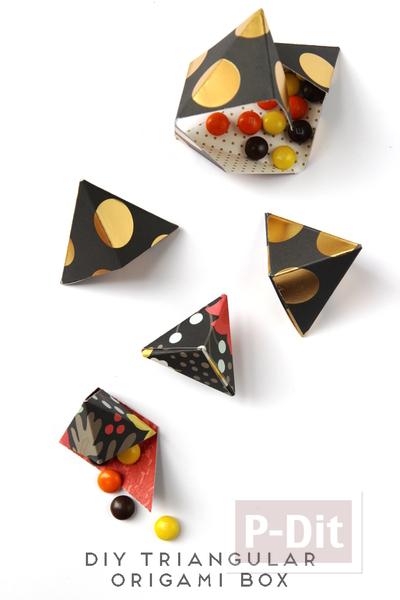 รูป 2 พับกล่องใส่ขนมหวาน ลูกกวาด เป็นรูปพีระมิด