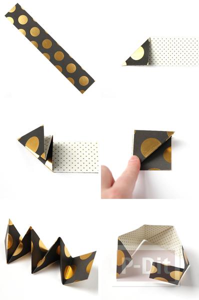 รูป 4 พับกล่องใส่ขนมหวาน ลูกกวาด เป็นรูปพีระมิด