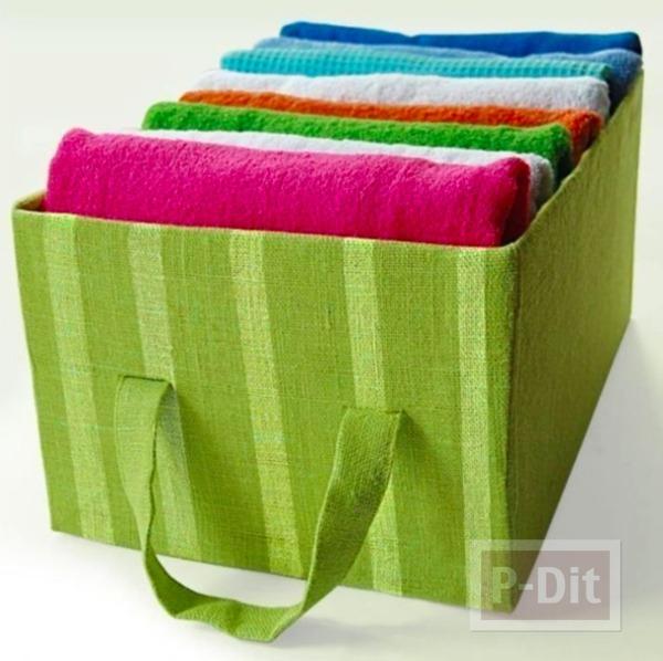 รูป 1 กล่องใส่ผ้าขนหนู ทำจากกล่องเก่าๆ หุ้มผ้าสีสด