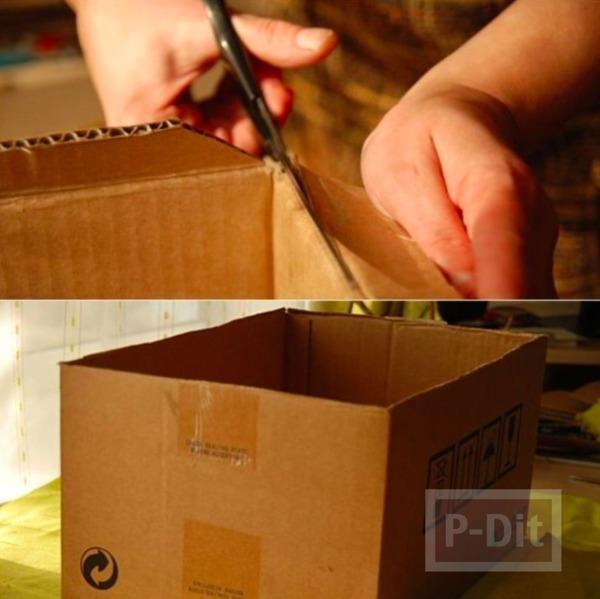 รูป 2 กล่องใส่ผ้าขนหนู ทำจากกล่องเก่าๆ หุ้มผ้าสีสด