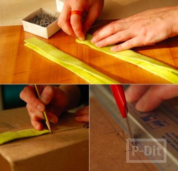 รูป 3 กล่องใส่ผ้าขนหนู ทำจากกล่องเก่าๆ หุ้มผ้าสีสด