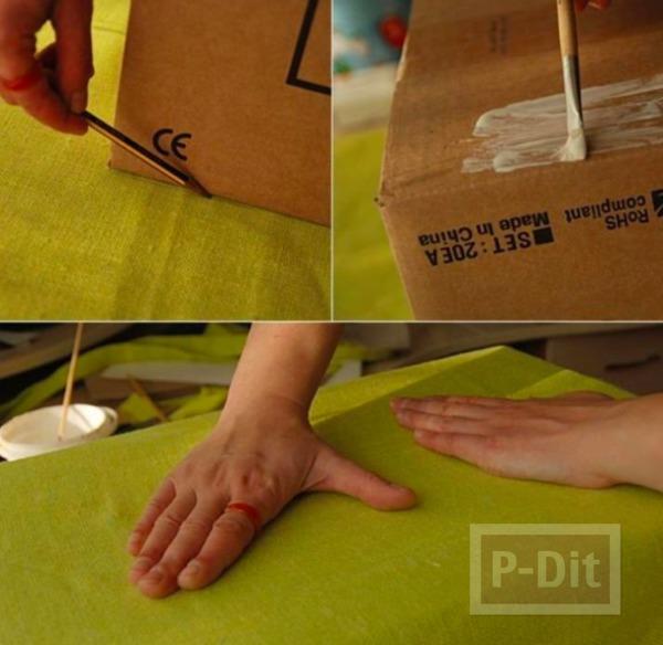 รูป 4 กล่องใส่ผ้าขนหนู ทำจากกล่องเก่าๆ หุ้มผ้าสีสด