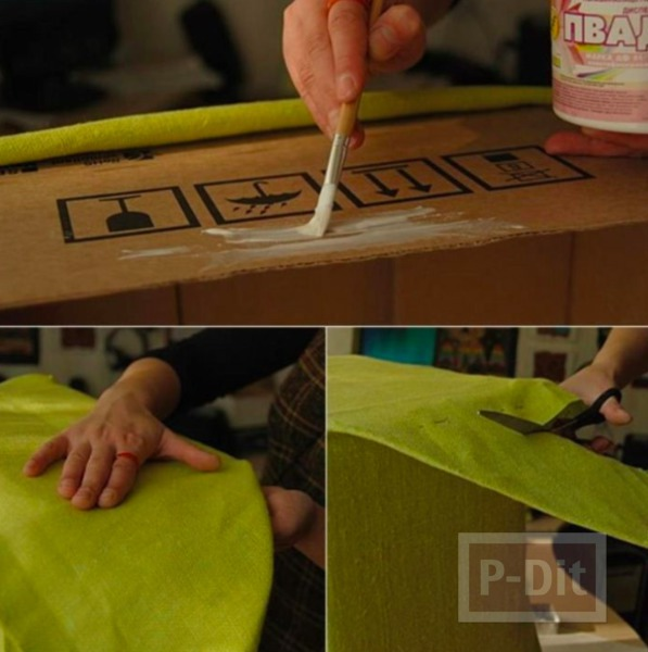 รูป 5 กล่องใส่ผ้าขนหนู ทำจากกล่องเก่าๆ หุ้มผ้าสีสด