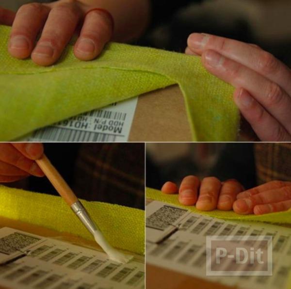 รูป 6 กล่องใส่ผ้าขนหนู ทำจากกล่องเก่าๆ หุ้มผ้าสีสด