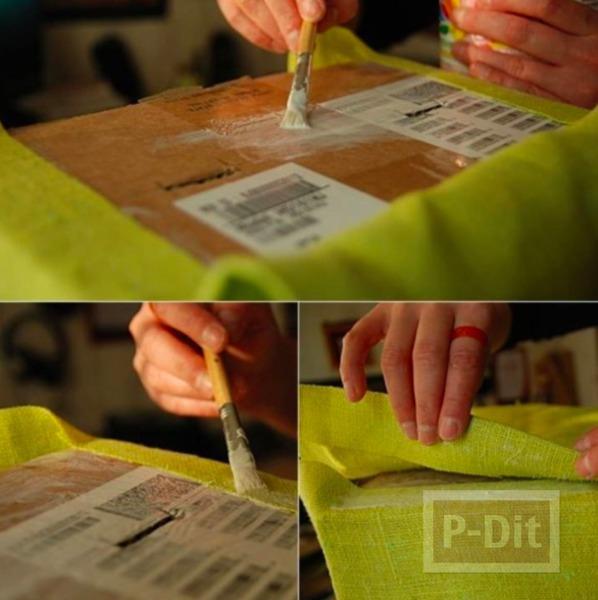 รูป 7 กล่องใส่ผ้าขนหนู ทำจากกล่องเก่าๆ หุ้มผ้าสีสด